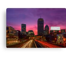 Dawn traffic on the MassPike, Boston. Canvas Print