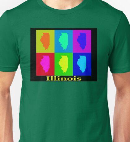 Colorful Illinois State Pop Art Map Unisex T-Shirt