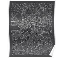 London Map, England - Gray Poster