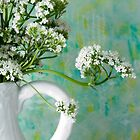 White Valarian Flowers Still Life  by Sandra Foster