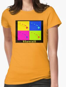 Colorful Hawaii State Pop Art Map Womens Fitted T-Shirt