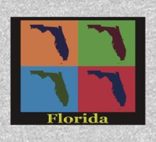 Colorful Florida State Pop Art Map One Piece - Long Sleeve