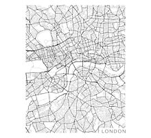 London Map, England - Black and White Photographic Print