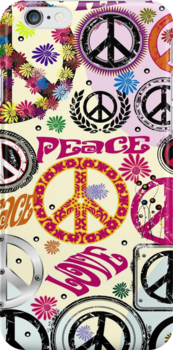 Flower Power Peace And Love Hippie  by CroDesign