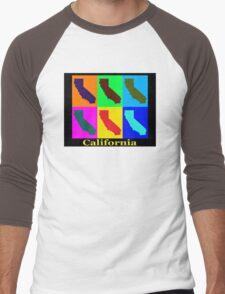 Colorful California State Pop Art Map Men's Baseball ¾ T-Shirt