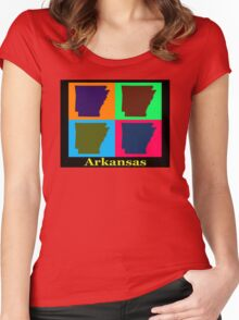 Colorful Arkansas State Pop Art Map Women's Fitted Scoop T-Shirt