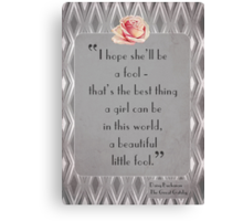 Great Gatsby Illustrated Quote Canvas Print