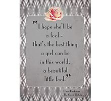 Great Gatsby Illustrated Quote Photographic Print