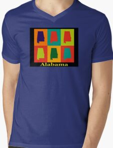 Colorful Alabama State Pop Art Map Mens V-Neck T-Shirt
