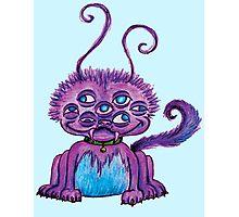 Purple 7 eyed 6 legged fluff monster Photographic Print