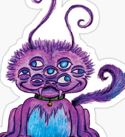 Purple 7 eyed 6 legged fluff monster Sticker