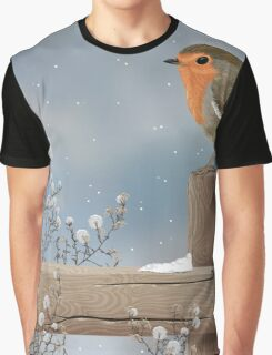 Robin on a Winter Day Graphic T-Shirt