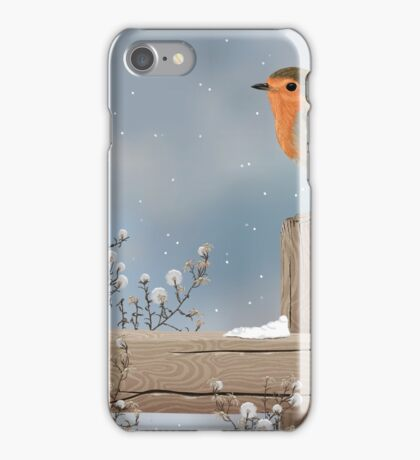 Robin on a Winter Day iPhone Case/Skin