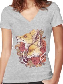Red Fox Bloom Women's Fitted V-Neck T-Shirt