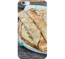 Pancakes filled with dark cherry jam iPhone Case/Skin