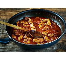 Chicken meat and chorizo cooking in the frying pan Photographic Print