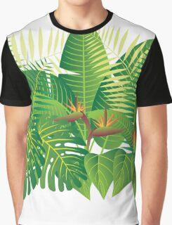 Tropical Jungle Plants Illustration Graphic T-Shirt