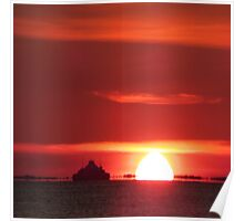 Ship in sunset Poster