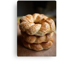 Stack of bagels Canvas Print