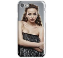 Fashion model on gray background, closeup iPhone Case/Skin