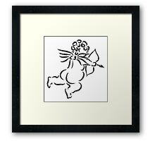 Cupid with Bow and Arrow Ink Brush Illustration Framed Print