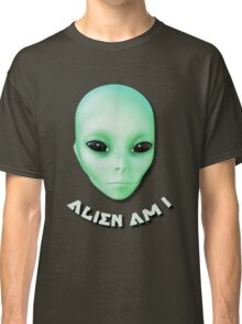 Alien Am I Green Funny Alien Face With Black Eyes Classic T-Shirt