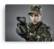Military guy shooting Canvas Print