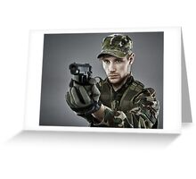 Military guy shooting Greeting Card