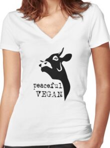 vegan for animal rights Women's Fitted V-Neck T-Shirt