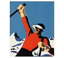 Skiing the slopes Photographic Print