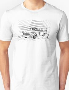 Checkered Taxi Cab And American Flag T-Shirt