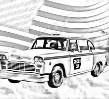 Checkered Taxi Cab And American Flag by KWJphotoart