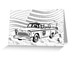 Checkered Taxi Cab And American Flag Greeting Card