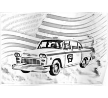 Checkered Taxi Cab And American Flag Poster
