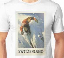Vintage Switzerland Winter Sport Skiing Travel Poster Unisex T-Shirt