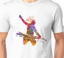 Young snowboarder man 02 in watercolor Unisex T-Shirt