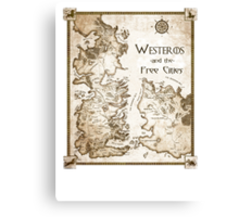Westeros and the Free Cities Canvas Print