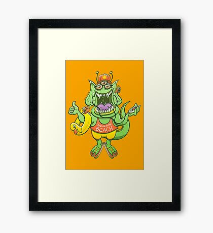 Cool monster rising its thumb to get a ride Framed Print