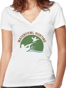 Waterfowl Hunting 3 Women's Fitted V-Neck T-Shirt
