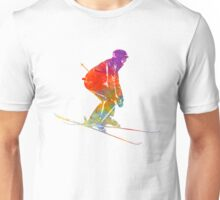 Woman skier skiing jumping 02 in watercolor Unisex T-Shirt