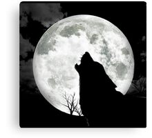 The Wolf And The Moon Canvas Print