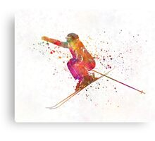 Woman skier skiing jumping 03 in watercolor Canvas Print