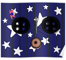 Buttoned Eyed Coraline with Starry Background Poster