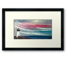 The lighthouse seascape painting Framed Print