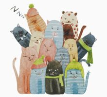 Cute Cats Watercolor Illustration One Piece - Long Sleeve