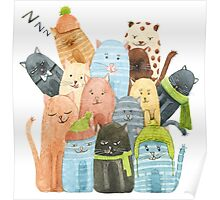 Cute Cats Watercolor Illustration Poster
