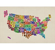 United States Typography Text Map Photographic Print