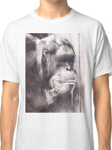 Hand drawn watercolor painting of an orangutan Classic T-Shirt