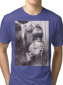 Hand drawn watercolor painting of an orangutan Tri-blend T-Shirt