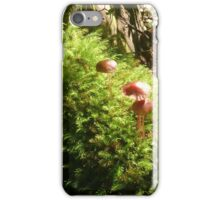 Mushrooms in rain forest moss iPhone Case/Skin